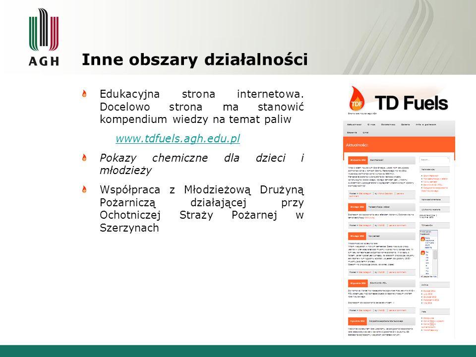 Inne obszary działalności Edukacyjna strona internetowa. Docelowo strona ma stanowić kompendium wiedzy na temat paliw www.tdfuels.agh.edu.pl Pokazy ch