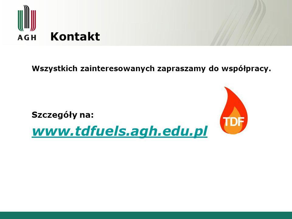 Kontakt Wszystkich zainteresowanych zapraszamy do współpracy. Szczegóły na: www.tdfuels.agh.edu.pl