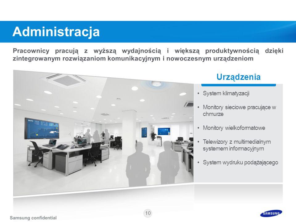 10 Urządzenia System klimatyzacji Monitory sieciowe pracujące w chmurze Monitory wielkoformatowe Telewizory z multimedialnym systemem informacyjnym Sy