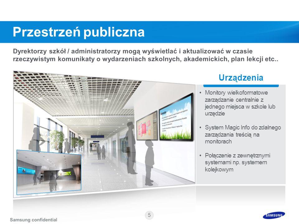 5 Urządzenia Monitory wielkoformatowe zarządzanie centralnie z jednego miejsca w szkole lub urzędzie System Magic Info do zdalnego zarządzania treścią