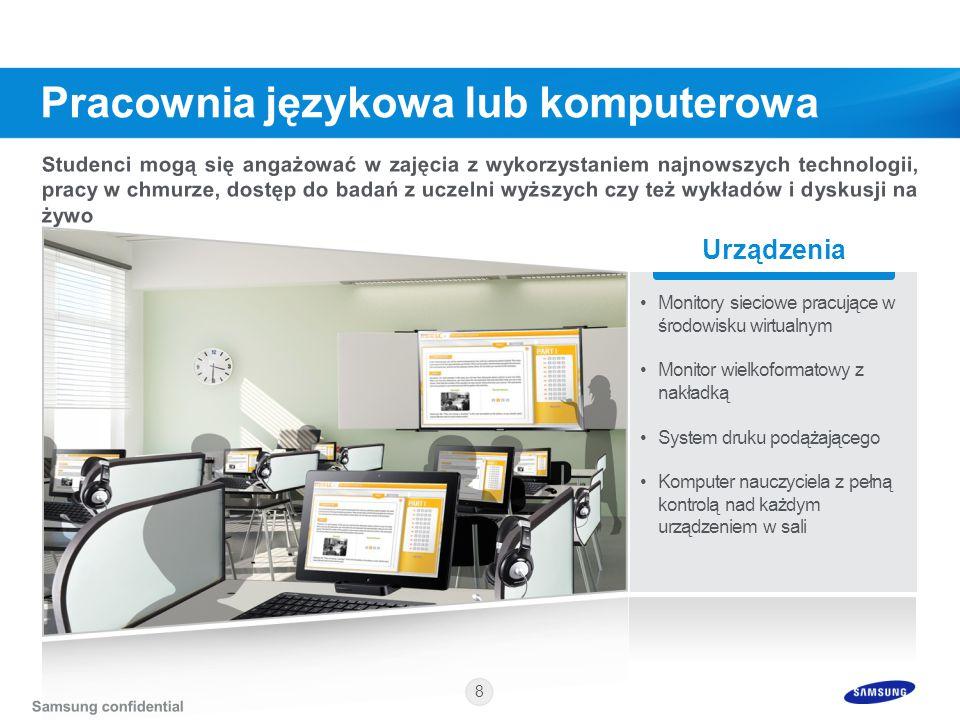 8 Urządzenia Monitory sieciowe pracujące w środowisku wirtualnym Monitor wielkoformatowy z nakładką System druku podążającego Komputer nauczyciela z p