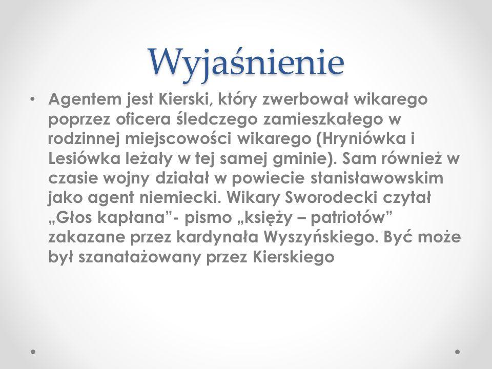 Wyjaśnienie Agentem jest Kierski, który zwerbował wikarego poprzez oficera śledczego zamieszkałego w rodzinnej miejscowości wikarego (Hryniówka i Lesi