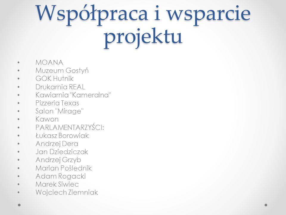 Współpraca i wsparcie projektu MOANA Muzeum Gostyń GOK Hutnik Drukarnia REAL Kawiarnia