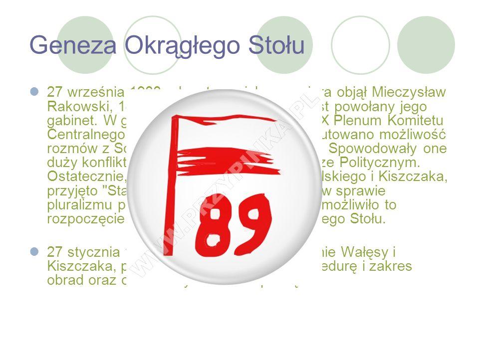 Geneza Okrągłego Stołu 27 września 1988 roku stanowisko premiera objął Mieczysław Rakowski, 14 października został natomiast powołany jego gabinet. W
