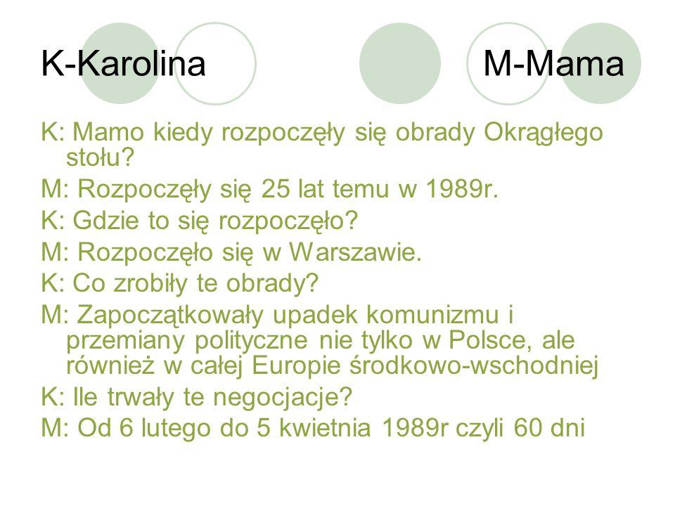 K-Karolina M-Mama K: Mamo kiedy rozpoczęły się obrady Okrągłego stołu? M: Rozpoczęły się 25 lat temu w 1989r. K: Gdzie to się rozpoczęło? M: Rozpoczęł