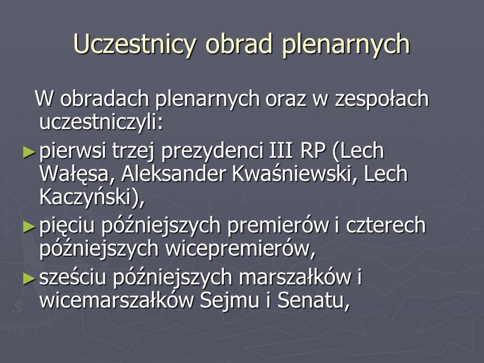 Uczestnicy obrad plenarnych W obradach plenarnych oraz w zespołach uczestniczyli: W obradach plenarnych oraz w zespołach uczestniczyli: ► pierwsi trze