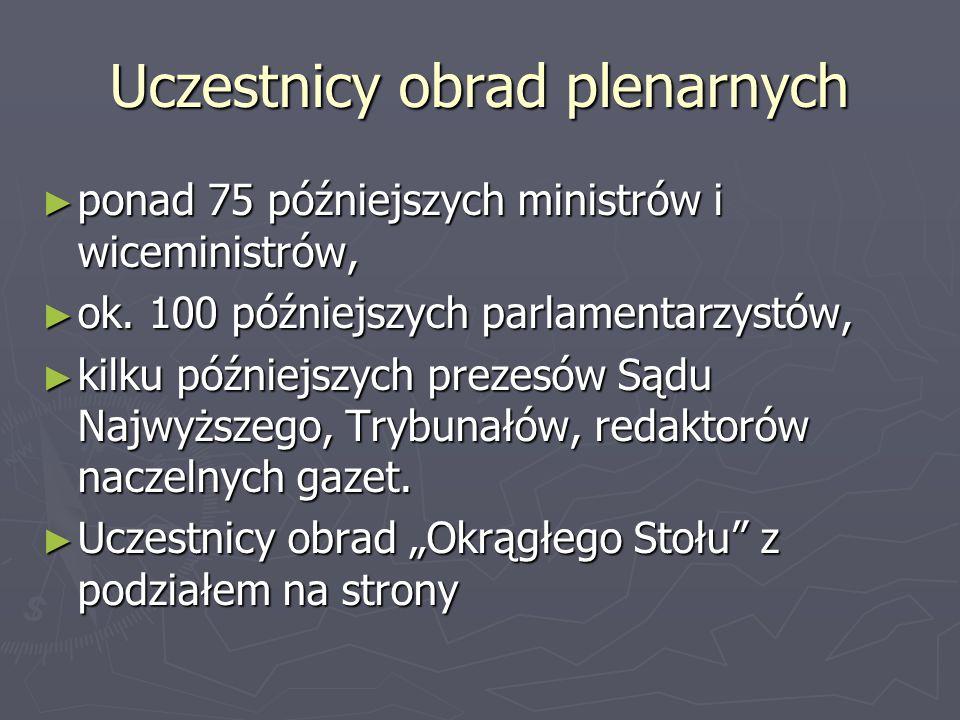 Uczestnicy obrad plenarnych ► ponad 75 późniejszych ministrów i wiceministrów, ► ok. 100 późniejszych parlamentarzystów, ► kilku późniejszych prezesów