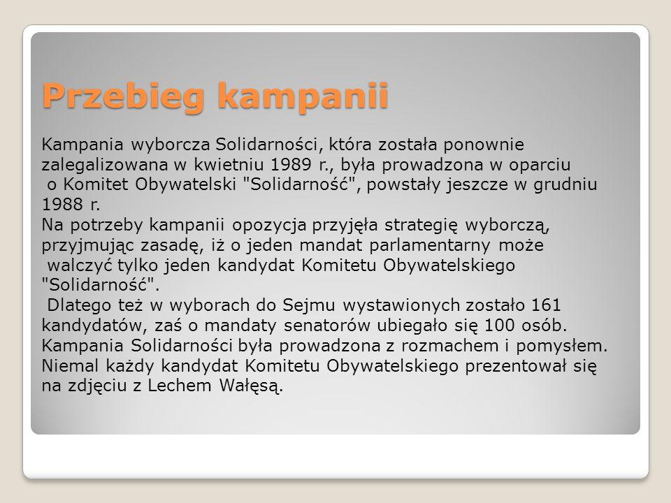 Przebieg kampanii Kampania wyborcza Solidarności, która została ponownie zalegalizowana w kwietniu 1989 r., była prowadzona w oparciu o Komitet Obywatelski Solidarność , powstały jeszcze w grudniu 1988 r.