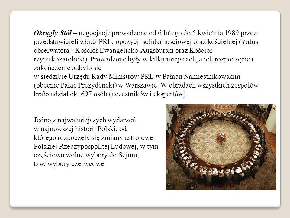 Okrągły Stół – negocjacje prowadzone od 6 lutego do 5 kwietnia 1989 przez przedstawicieli władz PRL, opozycji solidarnościowej oraz kościelnej (status obserwatora - Kościół Ewangelicko-Augsburski oraz Kościół rzymskokatolicki).