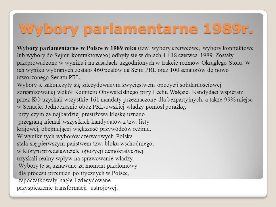 Wybory parlamentarne 1989r. Wybory parlamentarne w Polsce w 1989 roku (tzw. wybory czerwcowe, wybory kontraktowe lub wybory do Sejmu kontraktowego) od