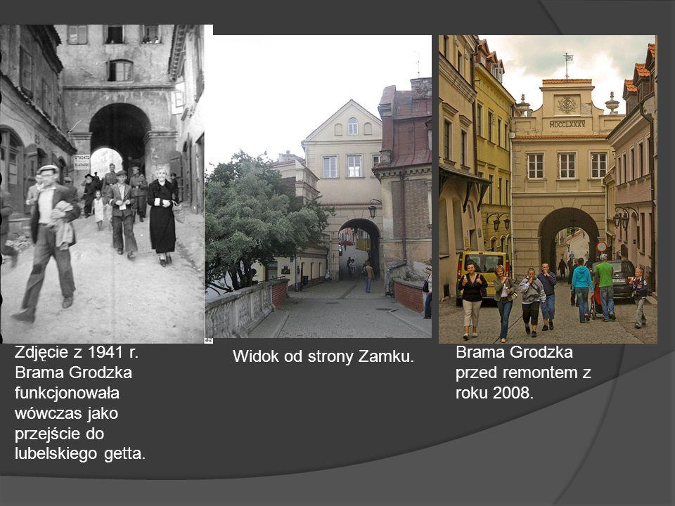 Zdjęcie z 1941 r. Brama Grodzka funkcjonowała wówczas jako przejście do lubelskiego getta. Widok od strony Zamku. Brama Grodzka przed remontem z roku