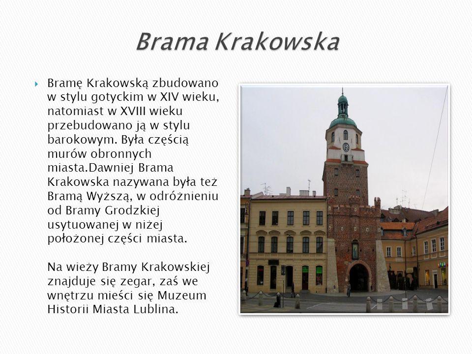  Bramę Krakowską zbudowano w stylu gotyckim w XIV wieku, natomiast w XVIII wieku przebudowano ją w stylu barokowym. Była częścią murów obronnych mias