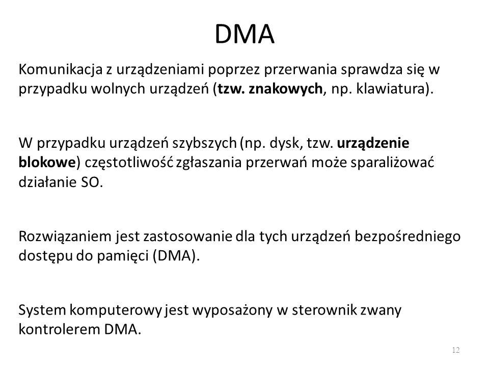 DMA 12 Komunikacja z urządzeniami poprzez przerwania sprawdza się w przypadku wolnych urządzeń (tzw.