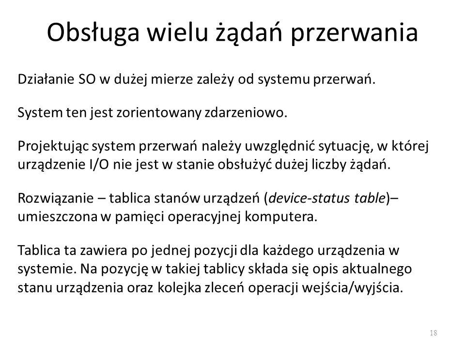 Obsługa wielu żądań przerwania 18 Działanie SO w dużej mierze zależy od systemu przerwań.