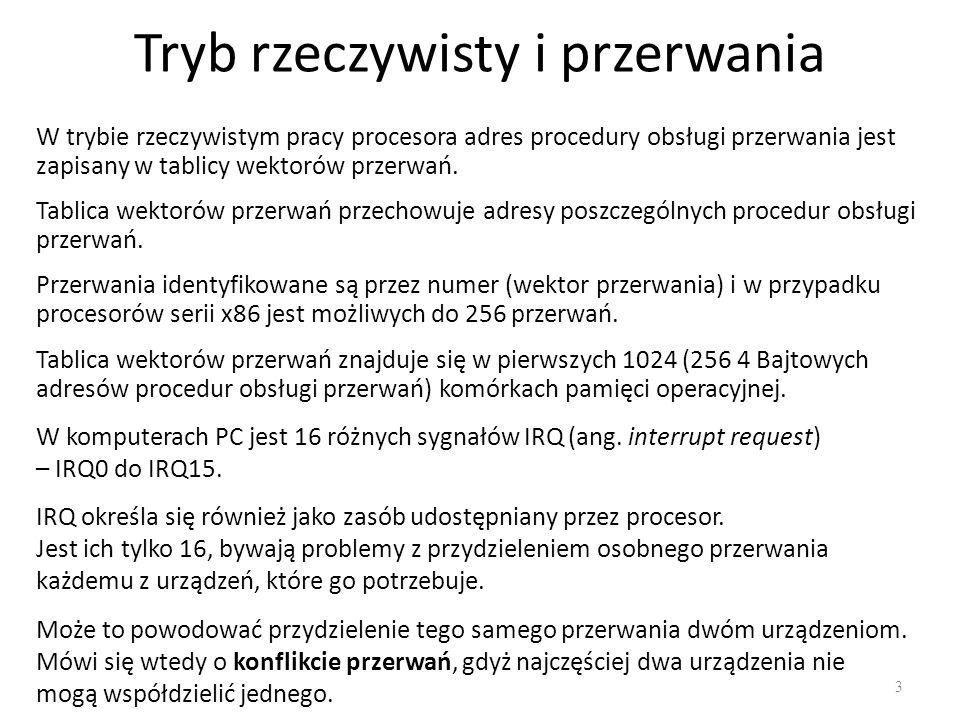 Tryb rzeczywisty i przerwania 3 W trybie rzeczywistym pracy procesora adres procedury obsługi przerwania jest zapisany w tablicy wektorów przerwań.
