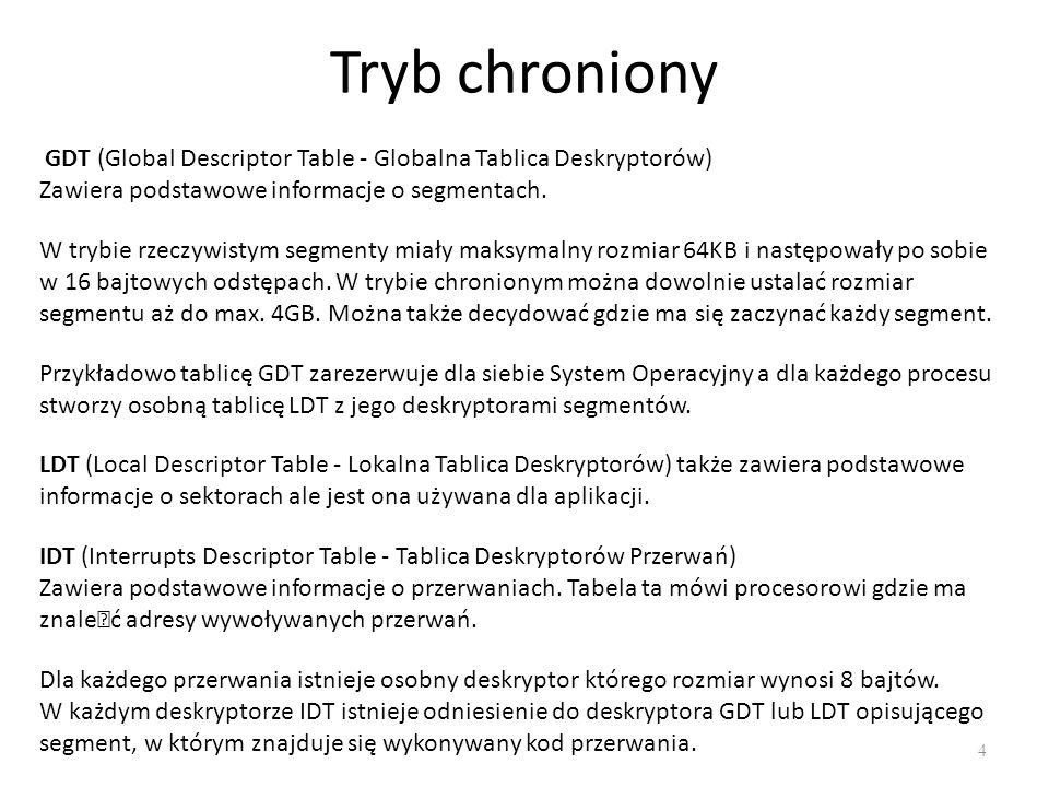 Tryb chroniony 4 GDT (Global Descriptor Table - Globalna Tablica Deskryptorów) Zawiera podstawowe informacje o segmentach.