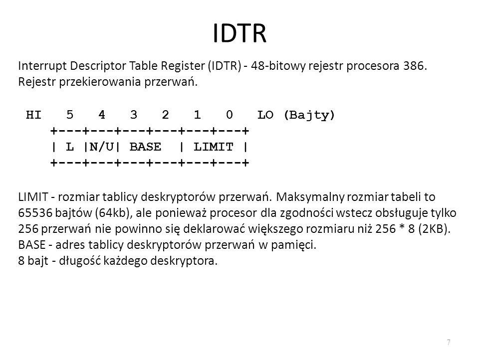 IDTR 7 Interrupt Descriptor Table Register (IDTR) - 48-bitowy rejestr procesora 386.