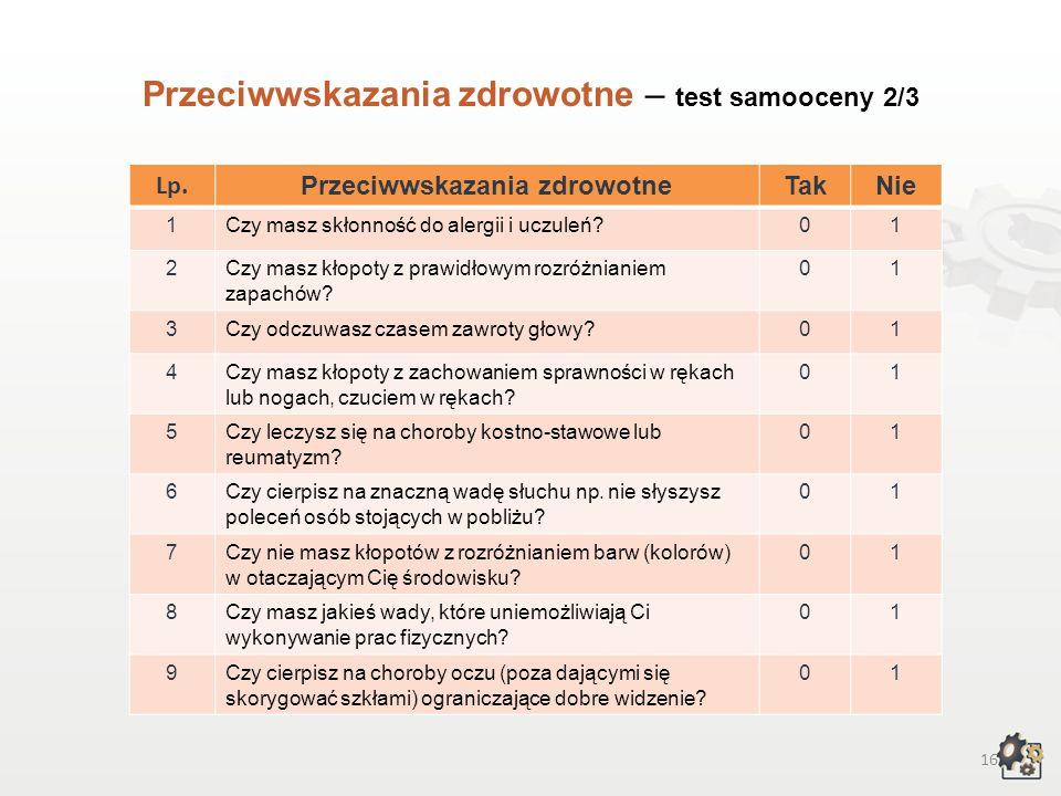 15 Przeciwwskazania zdrowotne Decydując się na podjęcie pracy w zawodzie florysty, powinniśmy także wziąć pod uwagę przeciwwskazania zdrowotne. Test s