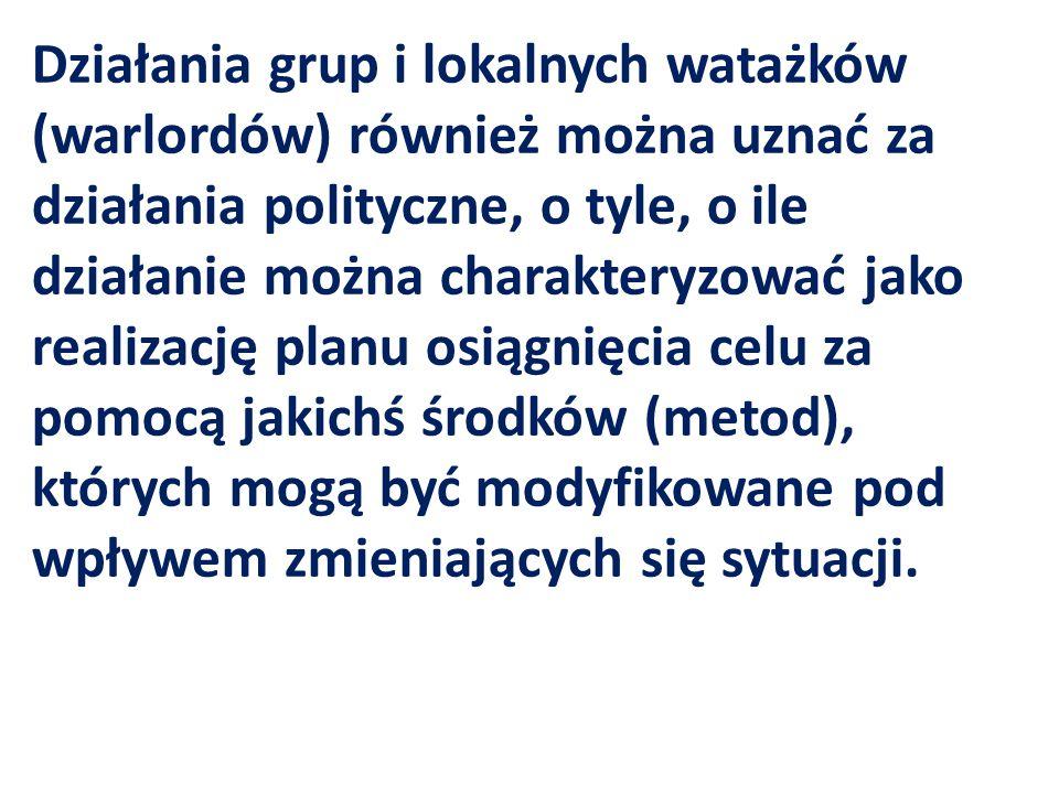 Działania grup i lokalnych watażków (warlordów) również można uznać za działania polityczne, o tyle, o ile działanie można charakteryzować jako realiz