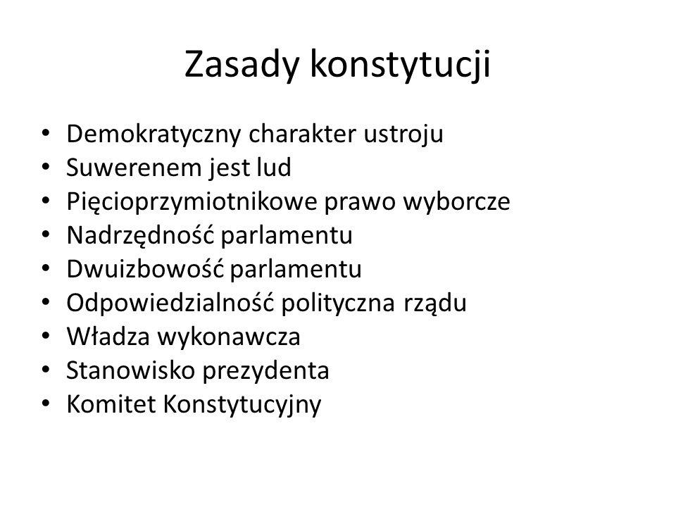 Zasady konstytucji Demokratyczny charakter ustroju Suwerenem jest lud Pięcioprzymiotnikowe prawo wyborcze Nadrzędność parlamentu Dwuizbowość parlament