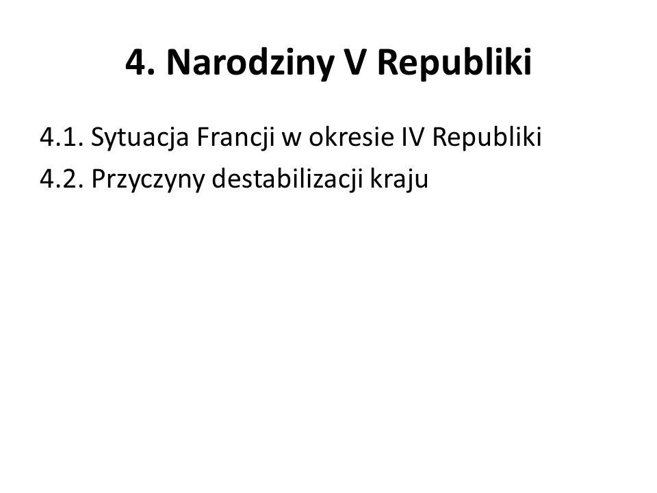 4. Narodziny V Republiki 4.1. Sytuacja Francji w okresie IV Republiki 4.2. Przyczyny destabilizacji kraju