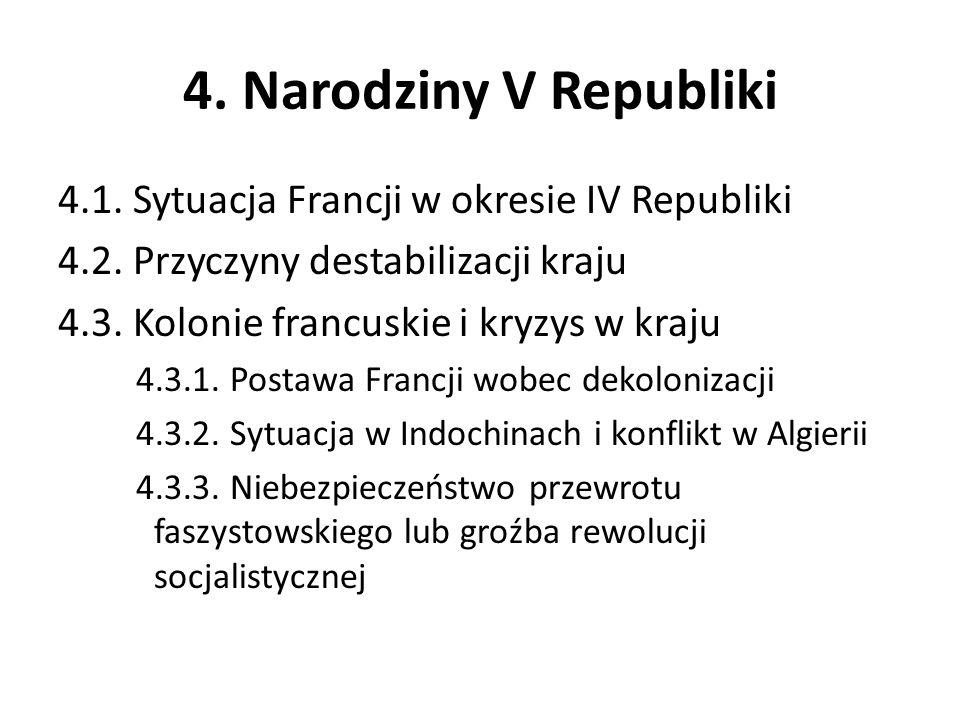 4. Narodziny V Republiki 4.1. Sytuacja Francji w okresie IV Republiki 4.2. Przyczyny destabilizacji kraju 4.3. Kolonie francuskie i kryzys w kraju 4.3