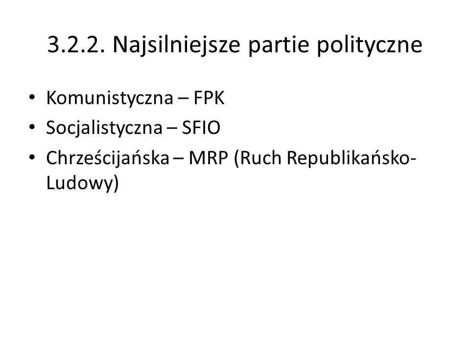 Komunistyczna – FPK Socjalistyczna – SFIO Chrześcijańska – MRP (Ruch Republikańsko- Ludowy)