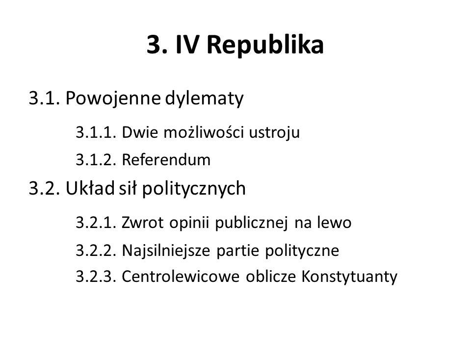 3. IV Republika 3.1. Powojenne dylematy 3.1.1. Dwie możliwości ustroju 3.1.2. Referendum 3.2. Układ sił politycznych 3.2.1. Zwrot opinii publicznej na