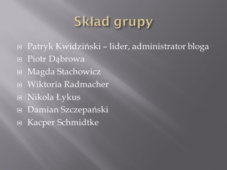  Patryk Kwidziński – lider, administrator bloga  Piotr Dąbrowa  Magda Stachowicz  Wiktoria Radmacher  Nikola Łykus  Damian Szczepański  Kacper Schmidtke