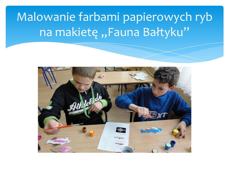 """Malowanie farbami papierowych ryb na makietę """"Fauna Bałtyku"""""""