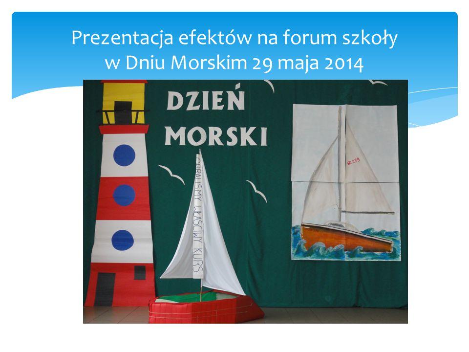 Prezentacja efektów na forum szkoły w Dniu Morskim 29 maja 2014
