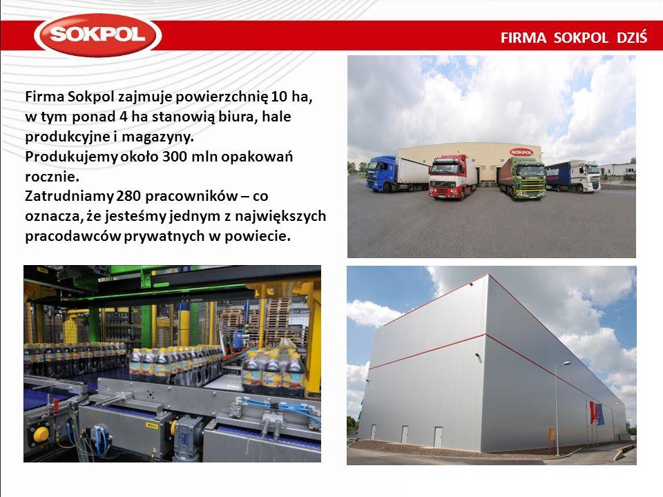 FIRMA SOKPOL DZIŚ Firma Sokpol zajmuje powierzchnię 10 ha, w tym ponad 4 ha stanowią biura, hale produkcyjne i magazyny. Produkujemy około 300 mln opa