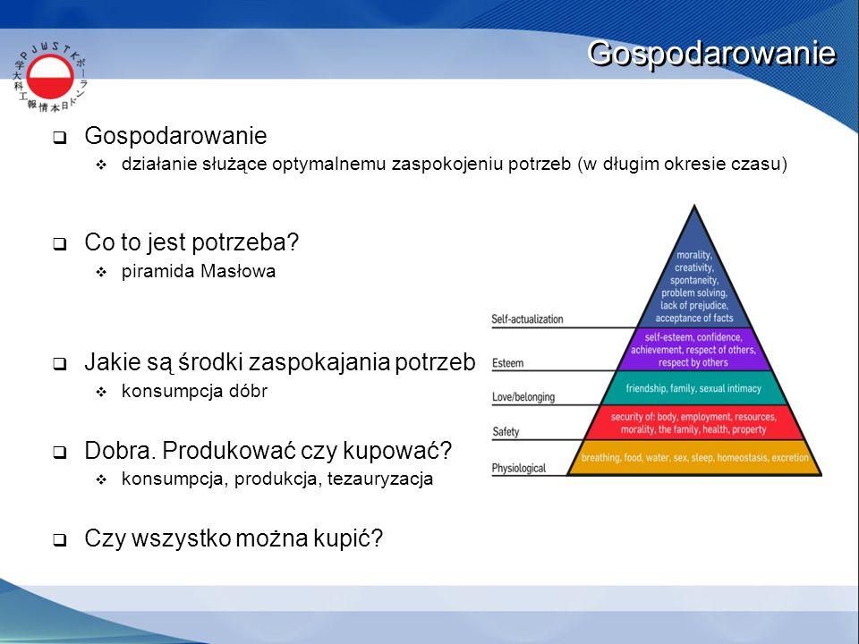 Gospodarowanie  Gospodarowanie  działanie służące optymalnemu zaspokojeniu potrzeb (w długim okresie czasu)  Co to jest potrzeba?  piramida Masłow
