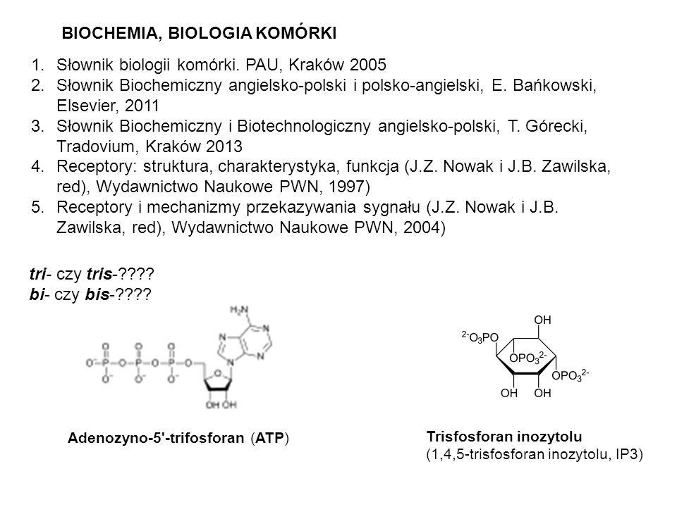 BIOCHEMIA, BIOLOGIA KOMÓRKI 1.Słownik biologii komórki. PAU, Kraków 2005 2.Słownik Biochemiczny angielsko-polski i polsko-angielski, E. Bańkowski, Els