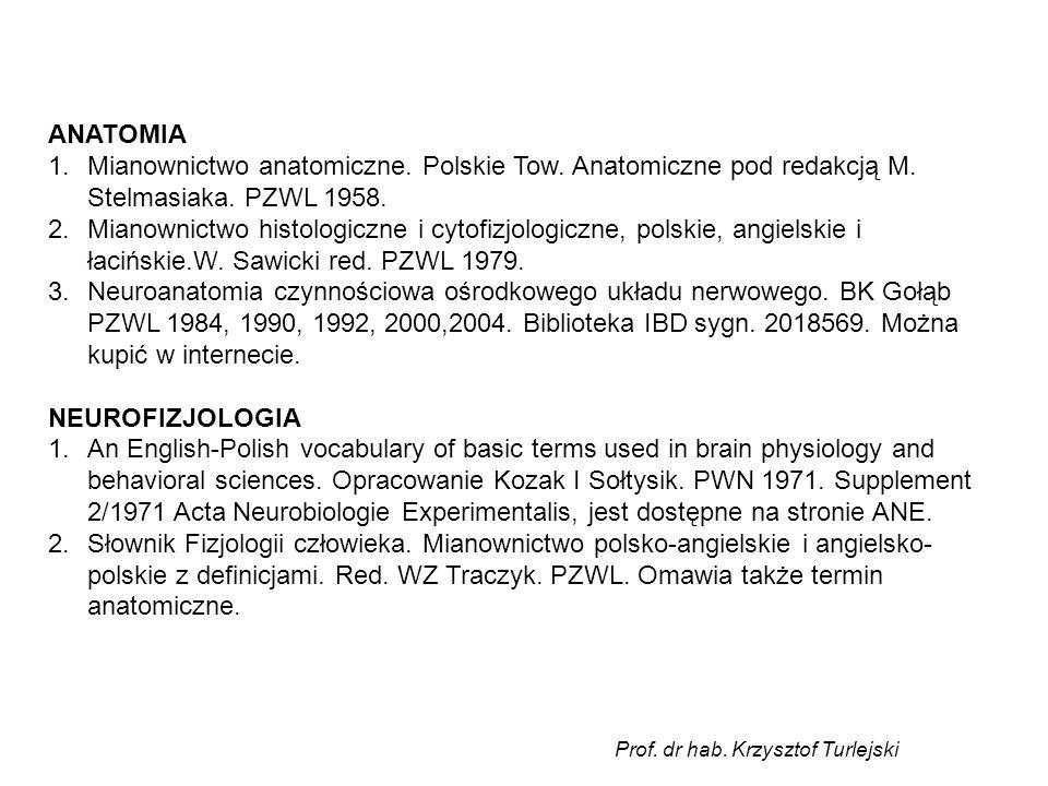 ANATOMIA 1.Mianownictwo anatomiczne. Polskie Tow. Anatomiczne pod redakcją M. Stelmasiaka. PZWL 1958. 2.Mianownictwo histologiczne i cytofizjologiczne