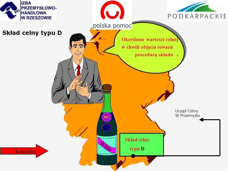 Kraj trzeci Skład celny typu D Wino Określenie wartości celnej w chwili objęcia towaru procedurą składu ! Skład celny typu D Urząd Celny W Przemyślu