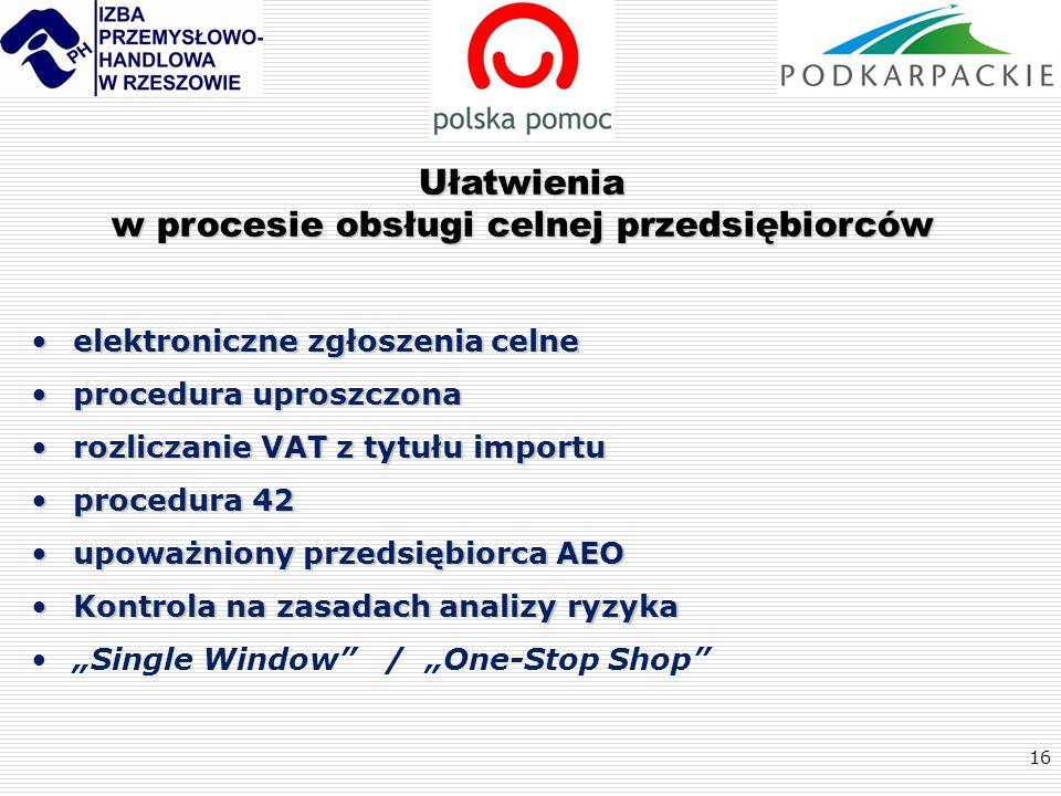 16 Ułatwienia w procesie obsługi celnej przedsiębiorców elektroniczne zgłoszenia celneelektroniczne zgłoszenia celne procedura uproszczonaprocedura up