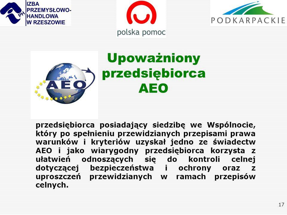 17 Upoważniony przedsiębiorca AEO przedsiębiorca posiadający siedzibę we Wspólnocie, który po spełnieniu przewidzianych przepisami prawa warunków i kr