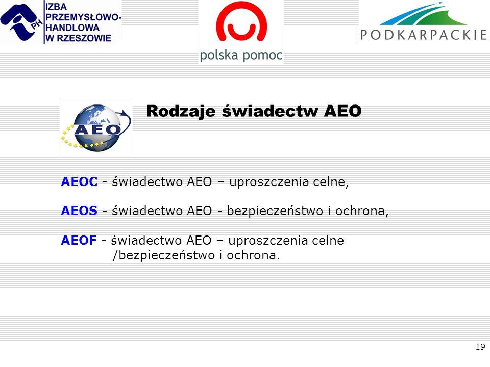 19 Rodzaje świadectw AEO AEOC - świadectwo AEO – uproszczenia celne, AEOS - świadectwo AEO - bezpieczeństwo i ochrona, AEOF - świadectwo AEO – uproszc