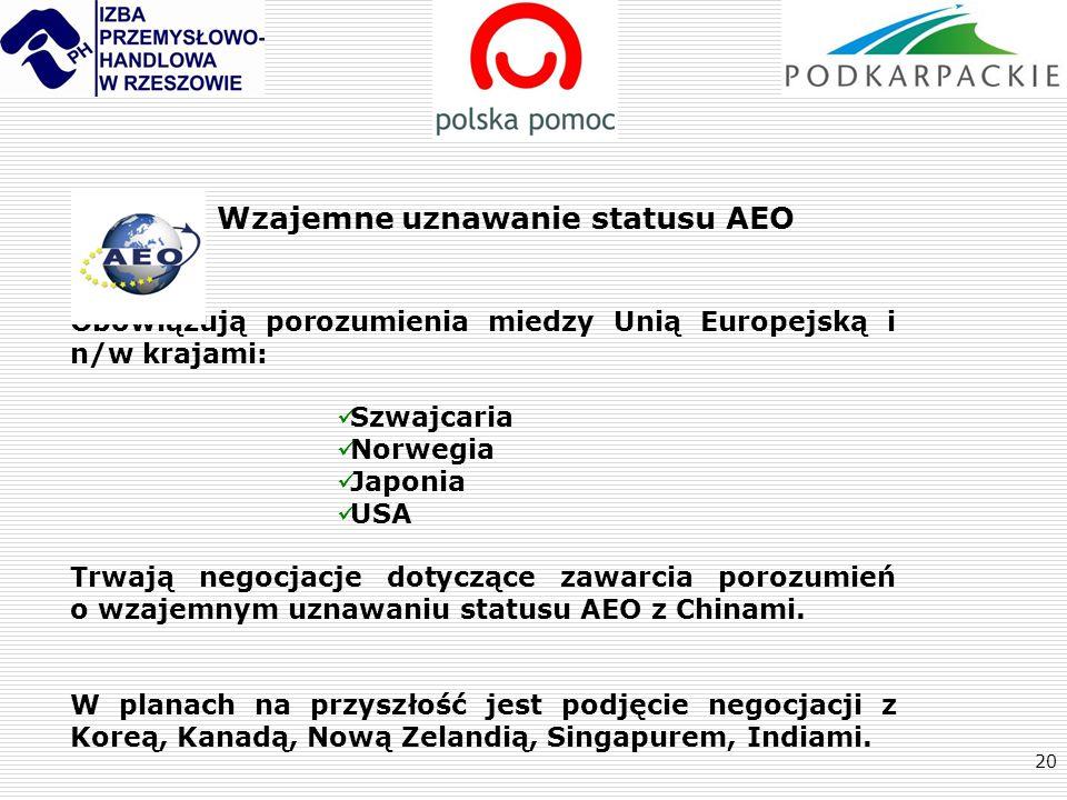 20 Wzajemne uznawanie statusu AEO Obowiązują porozumienia miedzy Unią Europejską i n/w krajami: Szwajcaria Norwegia Japonia USA Trwają negocjacje doty