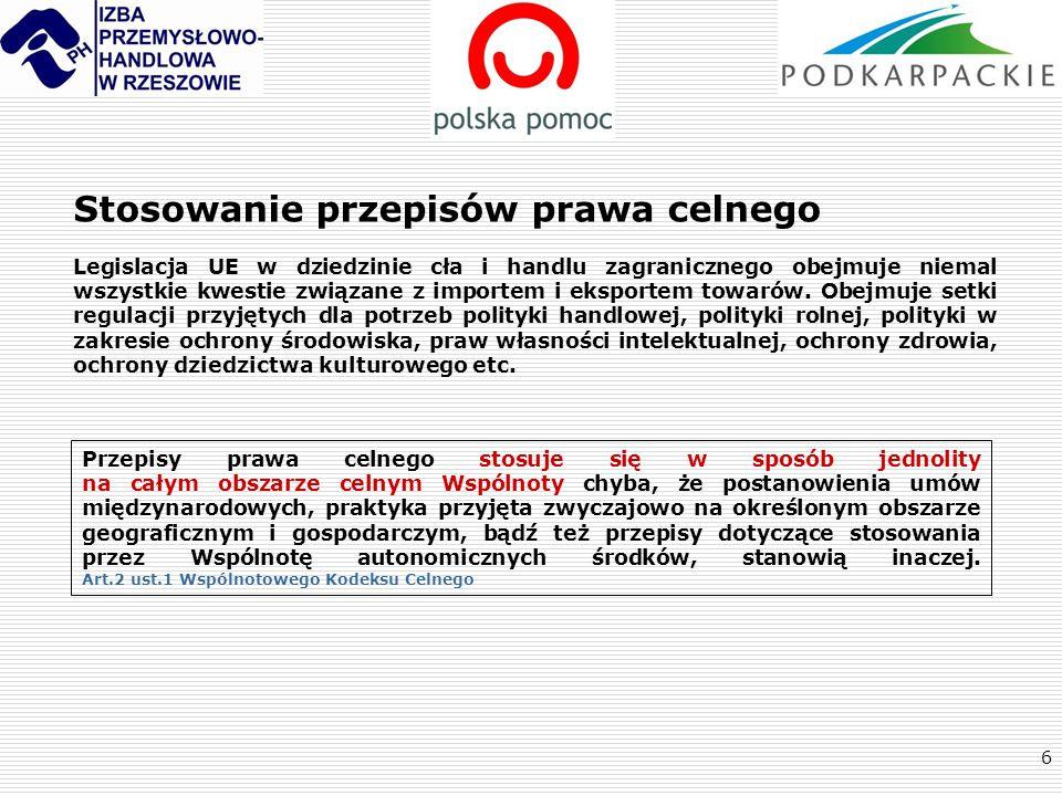 7 Przegląd wybranych przepisów wspólnotowego prawa celnego Rozporządzenie Rady (EWG) Nr 2913/92 z dnia 12 października 1992 ustanawiające WSPÓLNOTOWY KODEKS CELNY WKC Rozporządzenie Komisji (EWG) Nr 2454/93 z dnia 2 lipca 1993r wprowadzające niektóre PRZEPISY WYKONAWCZE RWKC do rozporządzenia Rady Nr 2913/92 ustanawiającego Wspólnotowy Kodeks Celny + załączniki ROZPORZĄDZENIE PARLAMENTU EUROPEJSKIEGO I RADY (WE) NR 450/2008 z dnia 23 kwietnia 2008 r.