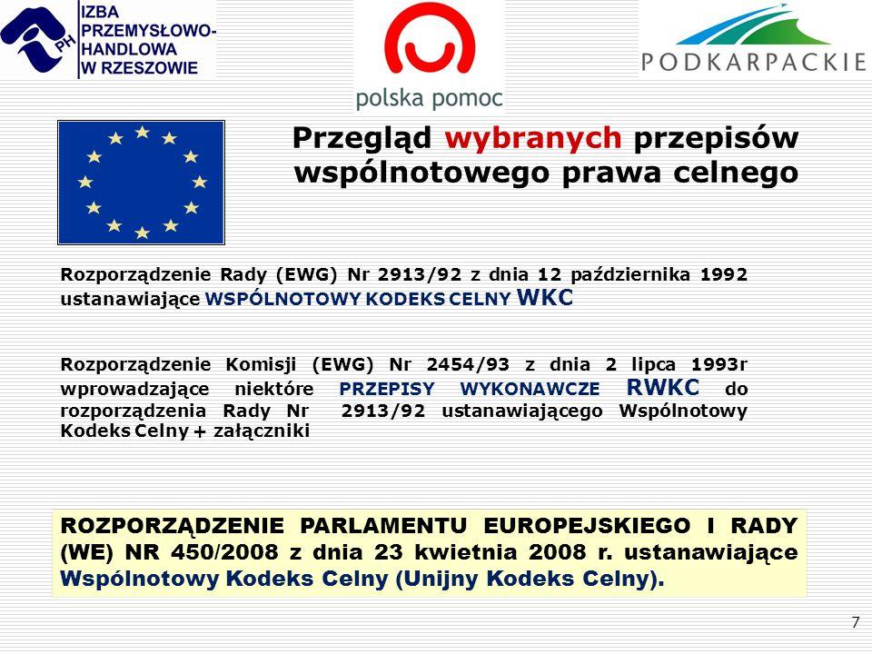 7 Przegląd wybranych przepisów wspólnotowego prawa celnego Rozporządzenie Rady (EWG) Nr 2913/92 z dnia 12 października 1992 ustanawiające WSPÓLNOTOWY