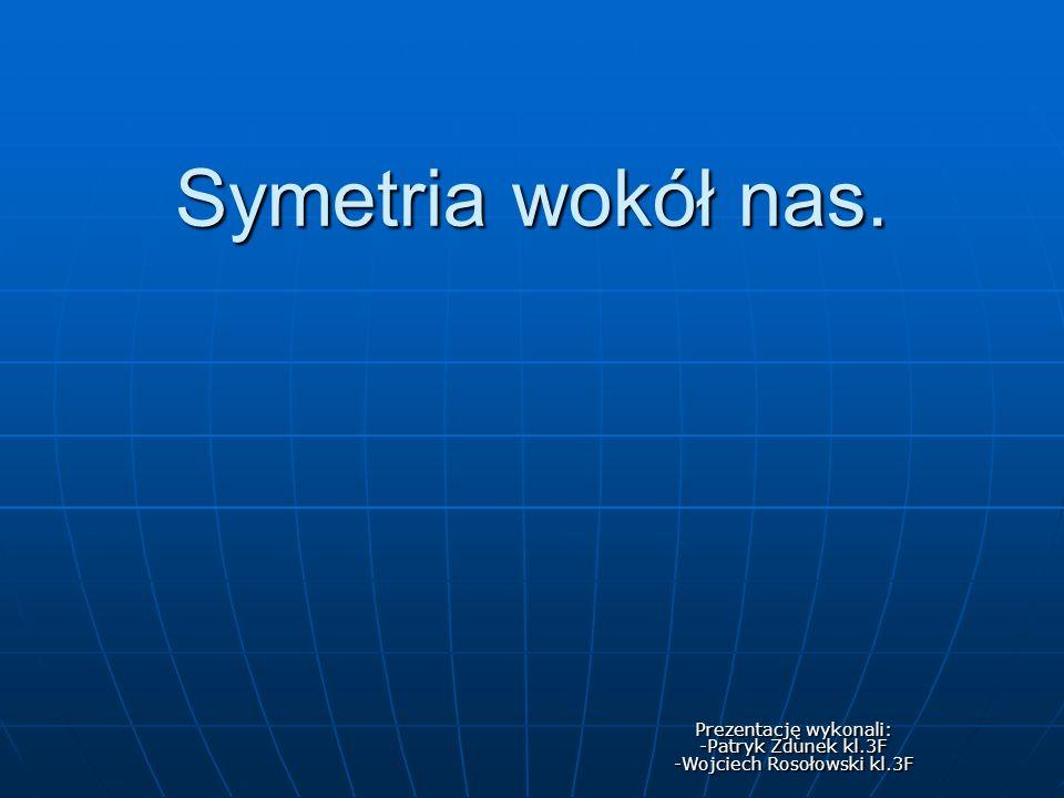 Symetria wokół nas. Prezentację wykonali: -Patryk Zdunek kl.3F -Wojciech Rosołowski kl.3F