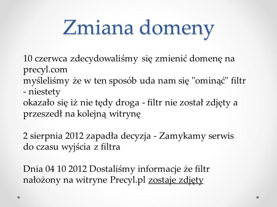 Zmiana domeny 10 czerwca zdecydowaliśmy się zmienić domenę na precyl.com myśleliśmy że w ten sposób uda nam się