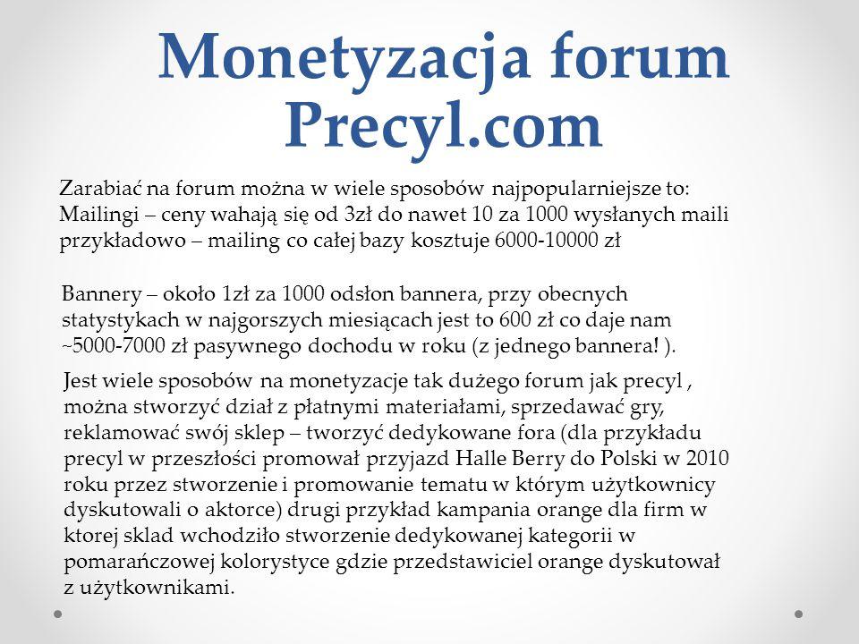 Monetyzacja forum Precyl.com Zarabiać na forum można w wiele sposobów najpopularniejsze to: Mailingi – ceny wahają się od 3zł do nawet 10 za 1000 wysł