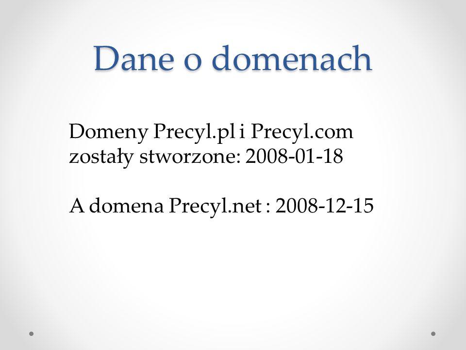 Dane o domenach Domeny Precyl.pl i Precyl.com zostały stworzone: 2008-01-18 A domena Precyl.net : 2008-12-15