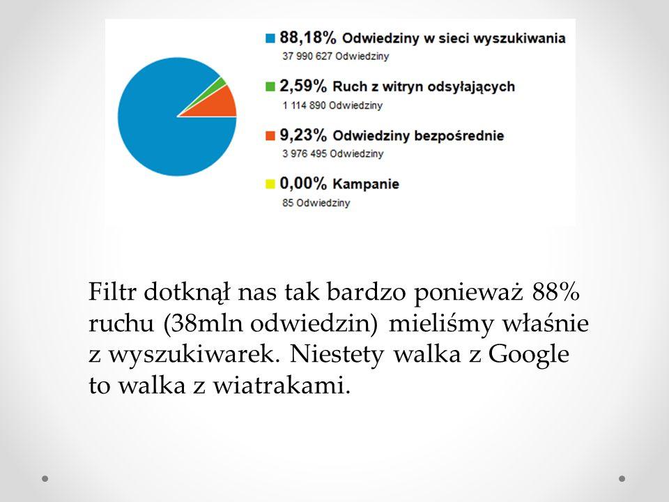Filtr dotknął nas tak bardzo ponieważ 88% ruchu (38mln odwiedzin) mieliśmy właśnie z wyszukiwarek. Niestety walka z Google to walka z wiatrakami.