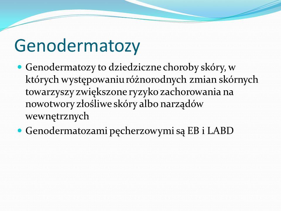 Genodermatozy Genodermatozy to dziedziczne choroby skóry, w których występowaniu różnorodnych zmian skórnych towarzyszy zwiększone ryzyko zachorowania