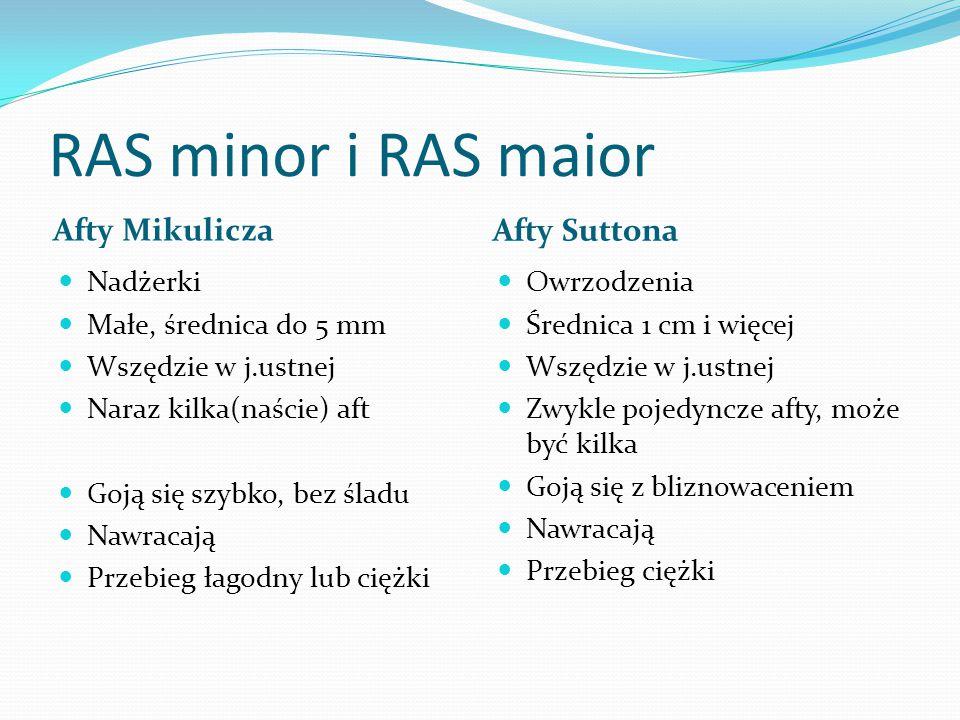 RAS minor i RAS maior Afty Mikulicza Afty Suttona Nadżerki Małe, średnica do 5 mm Wszędzie w j.ustnej Naraz kilka(naście) aft Goją się szybko, bez śla