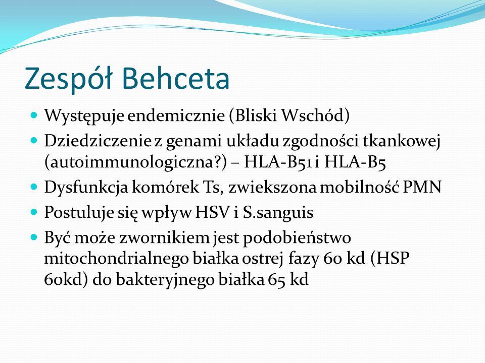Zespół Behceta Występuje endemicznie (Bliski Wschód) Dziedziczenie z genami układu zgodności tkankowej (autoimmunologiczna?) – HLA-B51 i HLA-B5 Dysfun